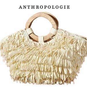 Anthropologie Straw Bag with Wood Handles